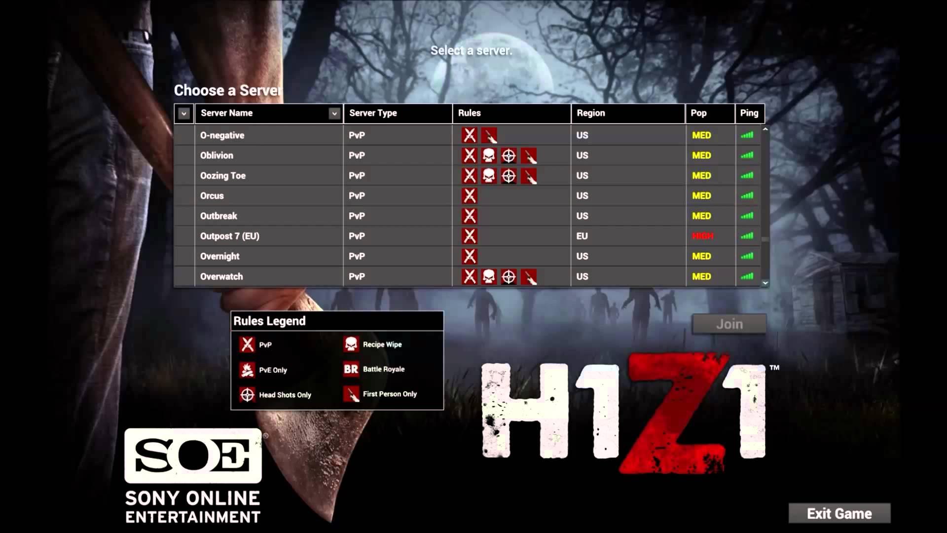 Serveur Liste H1Z1 old version